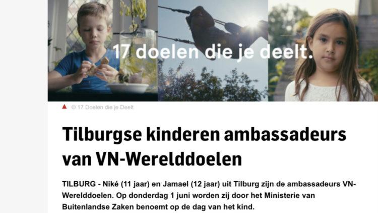 Tilburgse kinderen ambassadeurs van VN-Werelddoelen