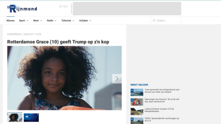 Rotterdamse Grace (10) geeft Trump op z'n kop